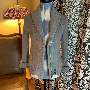American Eagle Outfitters zip up gray shawl collar sweater M